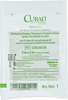 Curad Sterile Oil Emulsion Non-Adherent Gauze Dressing, 3x3 inches, for Minor Burns, Abrasions, 50 Count