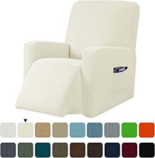 subrtex Recliner Chair Slipcover Stretch Lazy Boy Covers for Leather Furniture Protector Rocker Sofa Cover with Side Pocket (Recliner, Ivory)