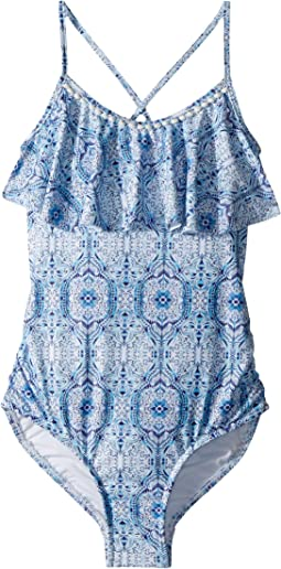 Boho Tile Ruffle Tank One-Piece (Little Kids/Big Kids)