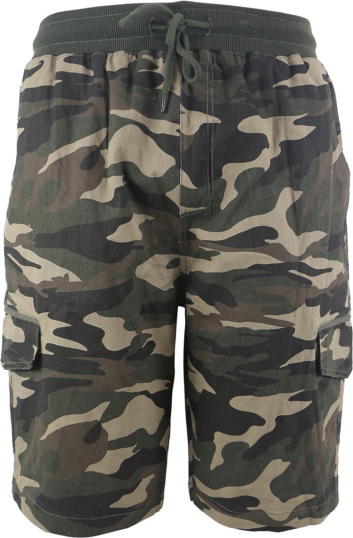 TanBridge Men's Casual Fit Loose Cargo Shorts with 2 Side Pockets & Leg Cargo Pockets Elastic Waist