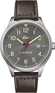 Lacoste Watch for Men Grey Dial Brown Leather Watch - 2011020