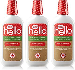 Hello Kids Wild Strawberry Natural Flavor Anticavity Fluoride Rinse - Vegan, Alcohol Free, and SLS Free Mou...