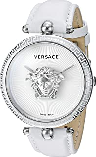 Women's Palazzo Empire Stainless Steel Swiss-Quartz Watch with Leather Calfskin Strap, White, 110.7 (Model: VCO010017)