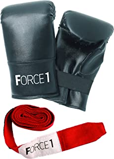 Force1 Boxing Mitts and Straps - Black