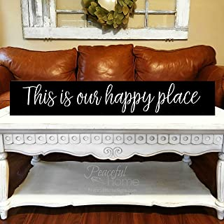 bawansign This is Our Happy Place Painted Wood Sign Farmhouse Long Skinny Sign Large Sign Living Room Big Sign for Home Sign with Saying