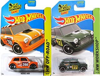 Morris Mini Cooper Hot Wheels 2 Pack set - HW Workshop #194 & Off-Road #80 2014-2015 in PROTECTIVE CASES