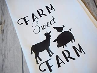 Farm Sweet Farm Kitchen Tea Towels, Farmhouse Decorative Flour Sack Towels, 28