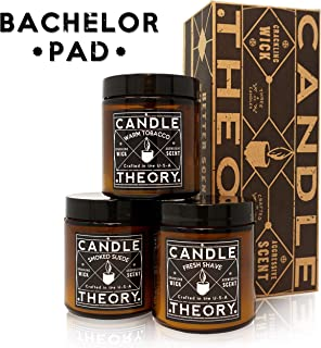 CANDLETHEORY Scented Candle Set with Crackling Wood Wicks - 3 Scents- Warm Tobacco, Smoked Suede, and Fresh Shave - Candles for Men Perfect for Man Cave Decor