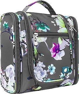 PAVILIA Hanging Travel Toiletry Bag for Women Men | Bathroom Toiletry Organizer Kit for Cosmetics Makeup | Dopp Kit Hygiene Bag for Shaving Shower (Floral Grey)