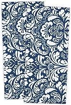 DII 100% Cotton, Everyday Basic Kitchen Dishtowel, Tea Towel, Drying, Damask Printed, 18 x 28 Set of 2- Nautical Blue