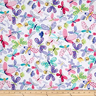 Hamil Textiles Butterfly Flutter Flies Allover Lilac Fabric by The Yard