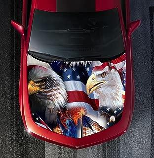 H45 EAGLE AMERICAN FLAG - HOOD WRAP - Wraps Decal Sticker Tint Vinyl Image Graphic Carbon Print Laminated Printed Fiber