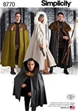 Simplicity 8770 Unisex Fantasy Halloween and Cosplay Cape Costume Sewing Pattern, 4 Styles, One Size