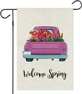 Haustalk Welcome Spring Garden Flag Vertical Double Sided Burlap Yard Tulip Truck Spring Summer Outdoor Decor 12.5 x 18 In...