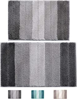 """wovwvool Bathroom Rugs Plush mat Polyester Microfiber Non-Slip,Soft,Absorbent and Machine (20""""×32"""" and 18""""×26"""" Gray)"""
