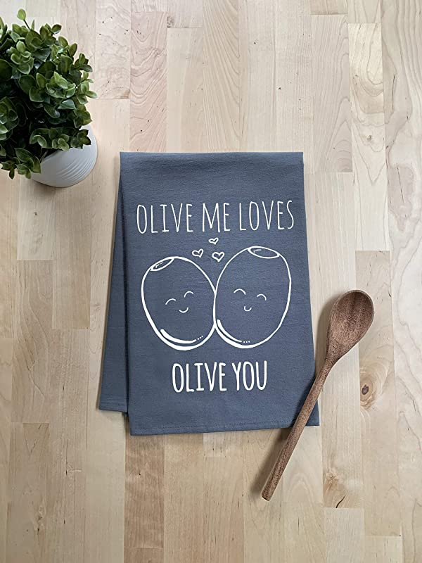 Funny Kitchen Towel Olive Me Loves Olive You Flour Sack Dish Towel Sweet Housewarming Gift Gray