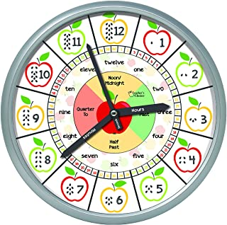 Educational Wall Clock - Silent Movement Time Teaching Clock for Teacher`s Classrooms and Kid`s Bedrooms (Silver/Multicolor Apple)