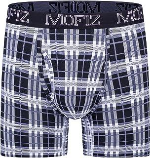 JINSHI Men's Length Leg Boxer Briefs Comfort Underwear Plaid Dot Boxers