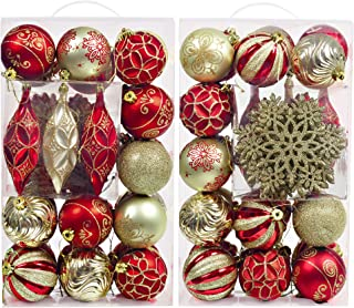 Valery Madelyn 40ct New Luxury Red Gold Shatterproof Christmas Ball Ornaments Decoration,Themed with Tree Skirt(Not Included)