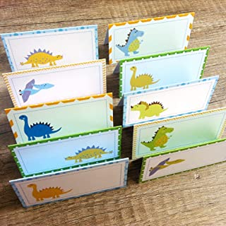Dinosaur Place Tent Cards - Boy Girl Birthday Baby Shower Party Supplies - Set of 12