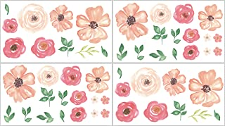 Sweet Jojo Designs Peach, Green and White Wall Decal Stickers for Peach Watercolor Floral Collection - Set of 4 Sheets - Pink Rose Flower
