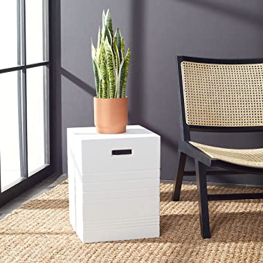 Safavieh Outdoor Collection Deidara Modern Ivory Concrete Accent Table (Fully Assembled) VNN1031B