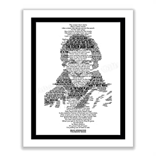 "Bruce Springsteen-""Thunder Road""-Music Lyrics Wall Art -11 x 14"" Vintage Typographic Song Lyric Print with Word Art Silhou..."
