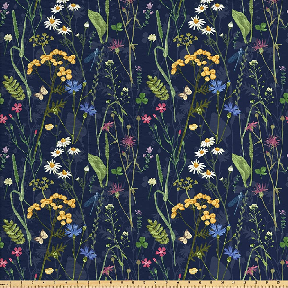 Lunarable Paint Fabric by The Yard, Botanical Beauty Floral Garden Daisy Magnolia Peony Lily Bloom Butterfly, Decorative Fabric for Upholstery and Home Accents, 2 Yards, Night Blue Reseda Green