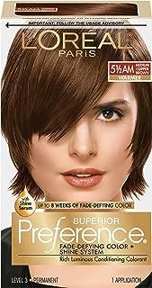 L'OrÃal Paris Superior Preference Fade-Defying + Shine Permanent Hair Color, 5.5AM Medium Copper Brown, 1 kit Hair Dye , 1 Count
