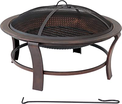 Sunnydaze Elevated Round Fire Pit Bowl with Stand Set- Portable Backyard Round Wood Burning Patio Firebowl with Spark Screen, Wood Grate and Poker - 29-Inch