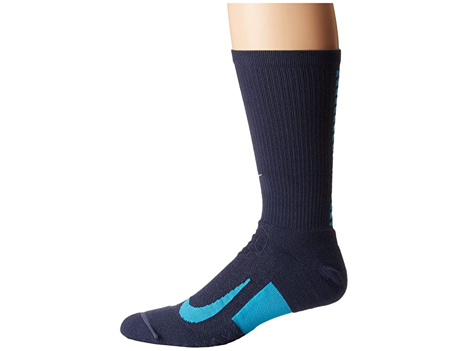 Nike Elite Running Cushion Crew Socks (Thunder Blue/Light Blue Fury) Crew Cut Socks Shoes