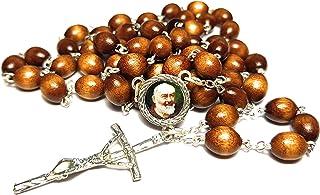 Relíquia de 3ª classe Rosário Saint Padre Pio Pietrelcina Stigmata Forgione Capuchin Patron of Civil Defense Volunteers Ad...