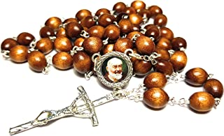 3rd Class relic Rosary Saint Padre Pio Pietrelcina Stigmata Francesco Forgione Capuchin Patron of Civil Defense Volunteers Adolescents Stress Relief Italy Malta enfermos (Brown)