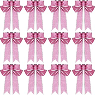 WILLBOND 12 Pieces Glitter Christmas Bows Christmas Wreath Bow Christmas Tree Ornaments Bows for Christmas Party Decoration (Pink)