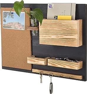 MyGift Wall-Mounted Organizer with Cork Bulletin Board, Mail Holder, Key Hooks, Flower Vase