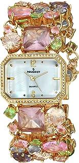 ساعة بيجو كوارتز زجاج ملون فسيفساء للنساء بسوار من النحاس، متعددة 28 موديل 1653