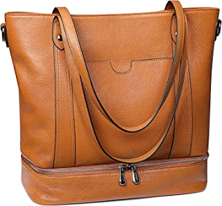 S-ZONE Damen Reisetasche Schultertasche Echtes Leder Große Reise Arbeit Handtasche Einkaufstasche