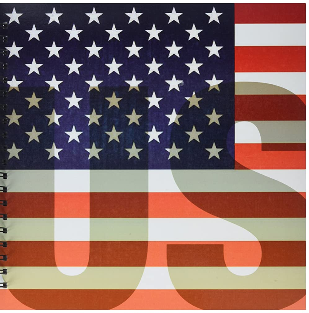 3dRose db_37608_2 Unites States American Flag with Us Watermark Memory Book, 12 by 12-Inch