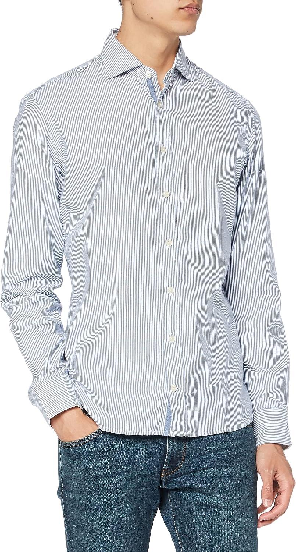 Hackett London Brushed Stripe Flannel Camisa para Hombre