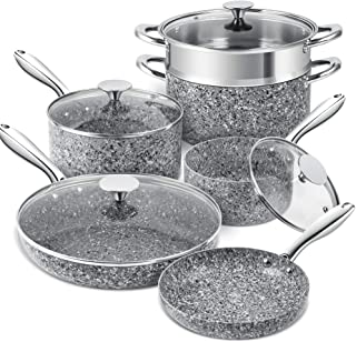 Granite Cookware Set 10 Piece, Ultra Nonstick Pots and Pans Set with 100% APEO & PFOA-Free Stone-Derived Coating, Granite ...