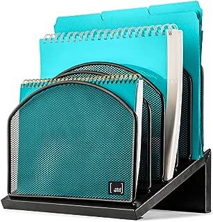 Inclined File Organizer by Mindspace, 5 Section Office Desktop Document Sorter | Desk File Holder | The Mesh Collection, Black