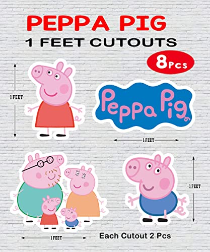 WoW Party Studio Peppa Pig 1ft Cutouts for Birthday Party Decorations 8 Pcs