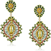 product image for Miguel Ases Small Green Jade Lotus Drop Earrings