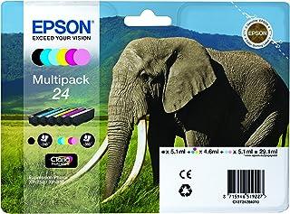 Epson 24 olifant echte multipack, 6-kleuren Claria Photo HD inktcartridges, Amazon Dash aanvulling klaar