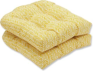 Pillow Perfect Outdoor | Indoor Herringbone Egg Yolk Wicker Seat Cushion (Set of 2, 2 Piece