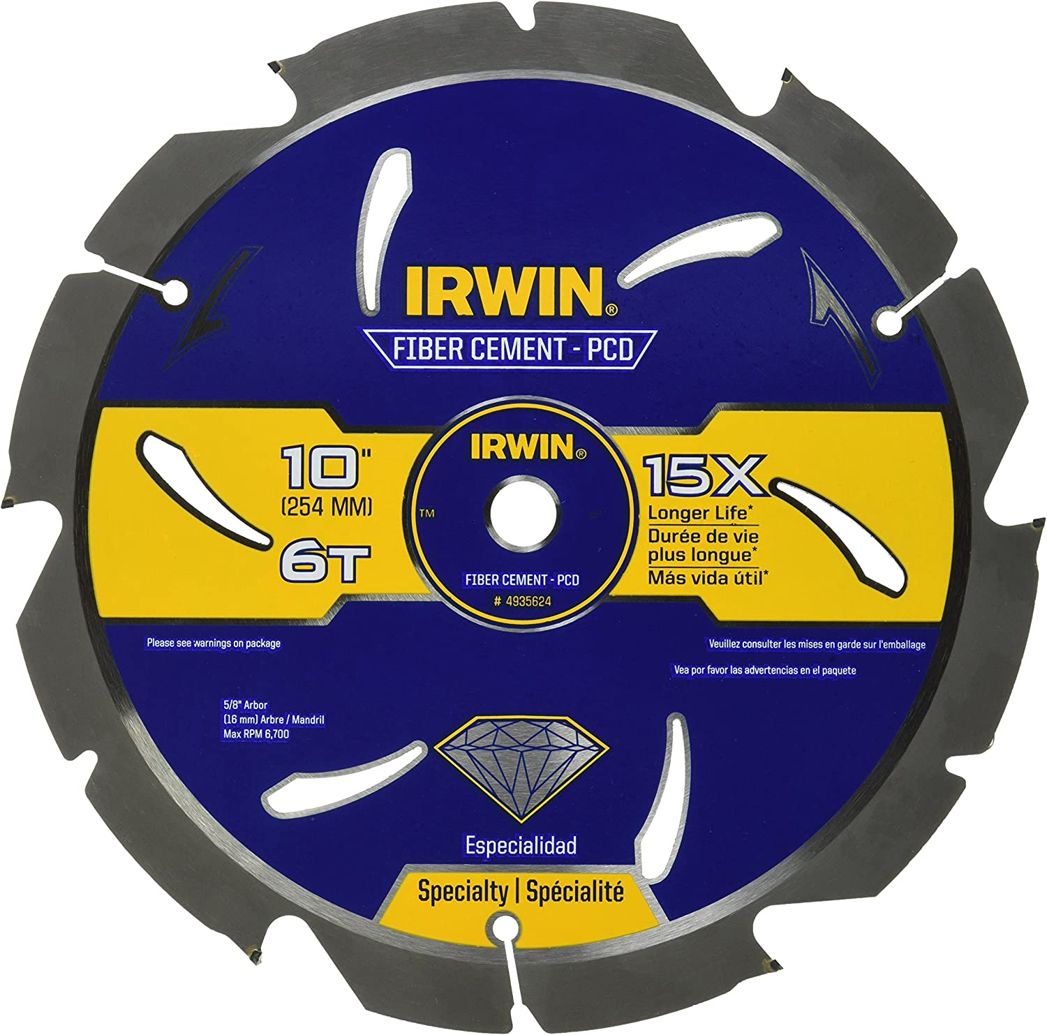 IRWIN 10-Inch Circular Super popular specialty store Saw Blade PCD Year-end gift 493 Cement Fiber 6-Tooth