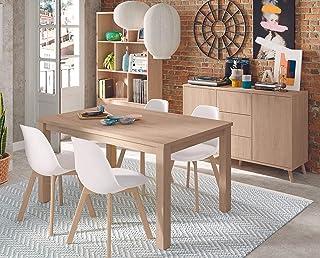 Miroytengo Pack Comedor Salon Moderno Noruega Mesa 4 sillas aparador librería Estilo contemporaneo Roble Aurora