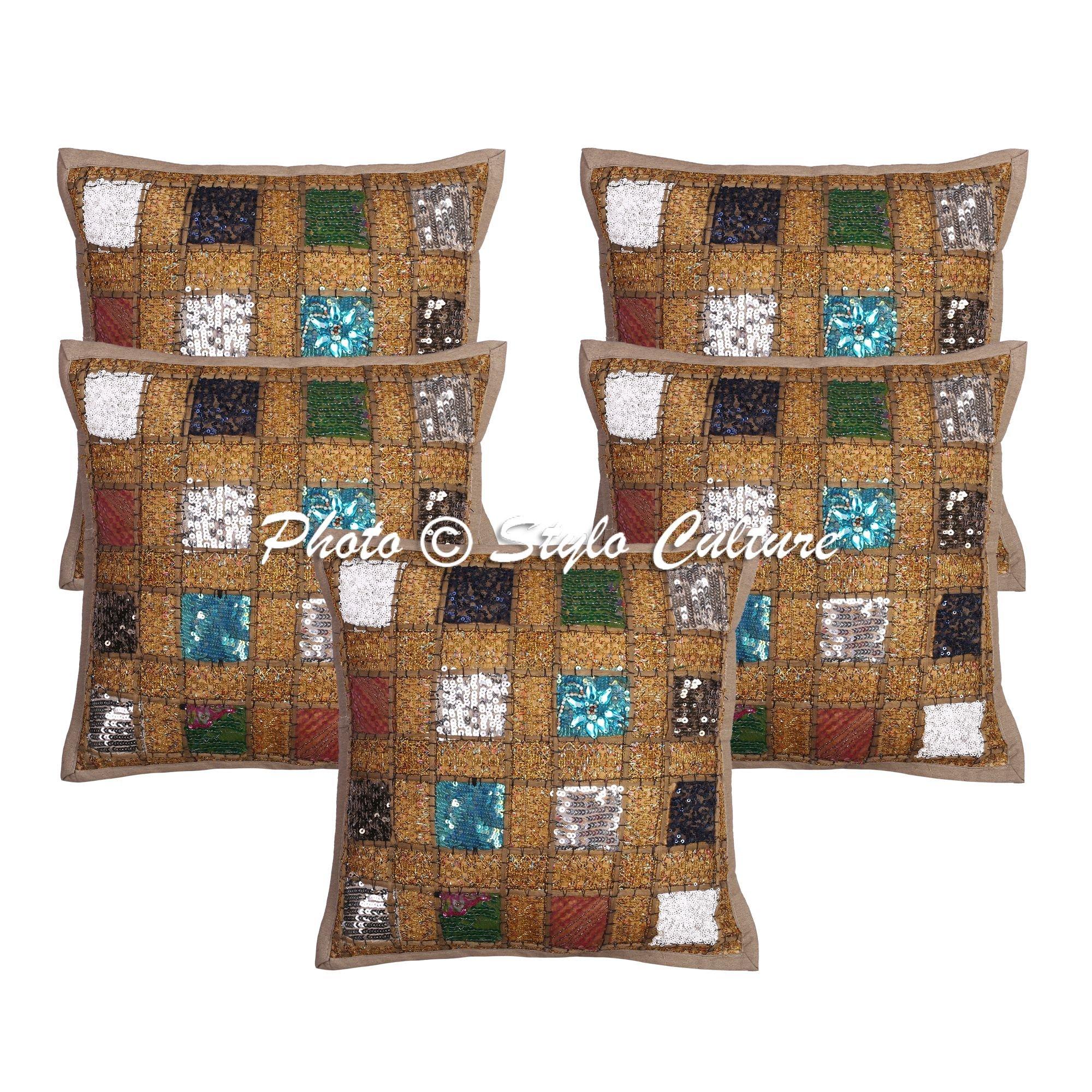 Stylo Culture Cojines Decorativos Indios Cubre Caqui Patchwork Lentejuelas Acento Almohada Cojines Cojín Algodón Cuadrado Tradicional Geométrica Cojines Cojín 40x40 cm (Juego de 5 Piezas): Amazon.es: Hogar