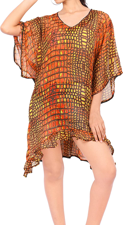 LA LEELA Women's Plus Size Caftan Bikini Swimwear Cover Ups Dress Short Mini A