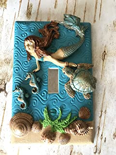 Handmade Light Switch Plate or Outlet Cover Sculpture 3D Under the Sea Ocean Mermaid Turtle Seahorse Girl Children Decor Polymer Clay